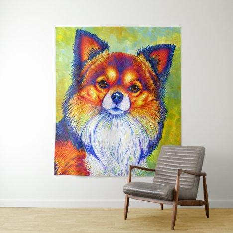 Colorful Rainbow Chihuahua Dog Tapestry