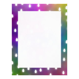 Colorful Rainbow Clouds with White Raindrops. Letterhead