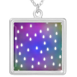 Colorful Rainbow Clouds with White Raindrops. Silver Plated Necklace