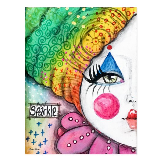 Colorful Rainbow Clown Girl Painting Whimsical Art Postcard