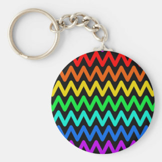 Colorful Rainbow Colors ZigZag Pattern - Keychain