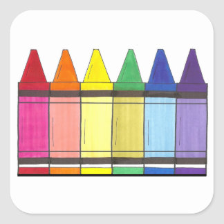 Colorful Rainbow Crayons Art Stickers
