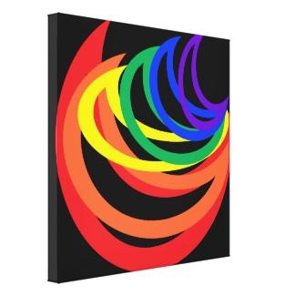 Colorful Rainbow Crescent Pattern Canvas Print