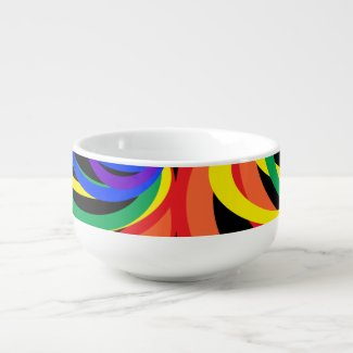Colorful Rainbow Crescent Pattern Soup Mug
