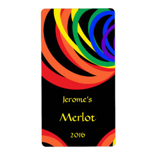 Colorful Rainbow Crescent Red Wine Label