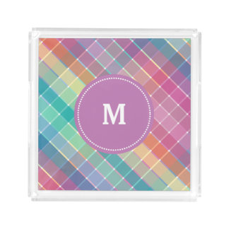 Colorful Rainbow Crosshatch Monogram Square Serving Trays