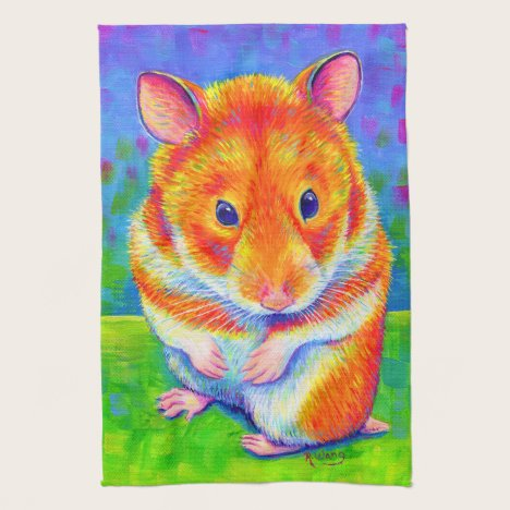 Colorful Rainbow Cue Hamster Kitchen Tea Towels