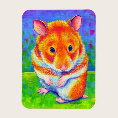 Colorful Rainbow Cute Hamster Flexible Magnet
