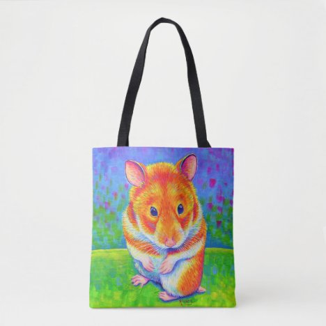 Colorful Rainbow Cute Hamster Tote Bag