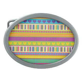 Colorful Rainbow Cute Patterns and Shapes Gifts Oval Belt Buckles