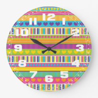 Colorful Rainbow Cute Patterns and Shapes Gifts Round Wallclocks