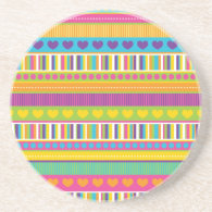 Colorful Rainbow Cute Patterns and Shapes Gifts Beverage Coaster