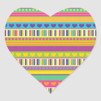 Colorful Rainbow Cute Patterns and Shapes Gifts Heart Sticker
