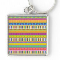 Colorful Rainbow Cute Patterns and Shapes Gifts Key Chains