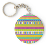 Colorful Rainbow Cute Patterns and Shapes Gifts Keychain