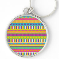 Colorful Rainbow Cute Patterns and Shapes Gifts Key Chain