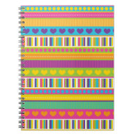 Colorful Rainbow Cute Patterns and Shapes Gifts Spiral Note Books