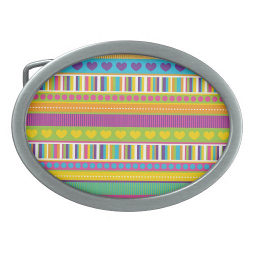 Colorful Rainbow Cute Patterns and Shapes Gifts Oval Belt Buckle