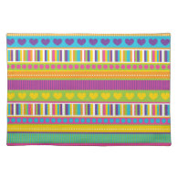 Colorful Rainbow Cute Patterns and Shapes Gifts Placemats