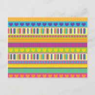 Colorful Rainbow Cute Patterns and Shapes Gifts Post Cards