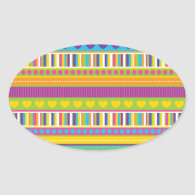 Colorful Rainbow Cute Patterns and Shapes Gifts Oval Stickers