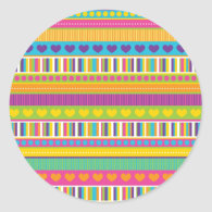 Colorful Rainbow Cute Patterns and Shapes Gifts Round Stickers