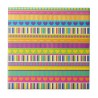 Colorful Rainbow Cute Patterns and Shapes Gifts Tiles