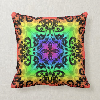 Colorful rainbow damask square pillow