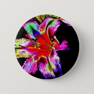 Colorful Rainbow Daylily Pinback Button