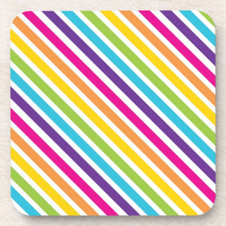 Colorful Rainbow Diagonal Stripes Gifts for Teens Beverage Coaster