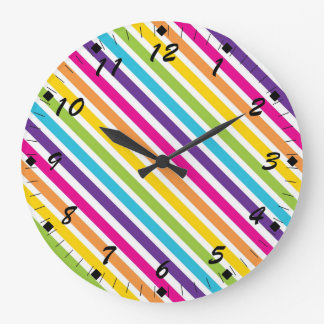 Colorful Rainbow Diagonal Stripes Gifts for Teens Large Clock