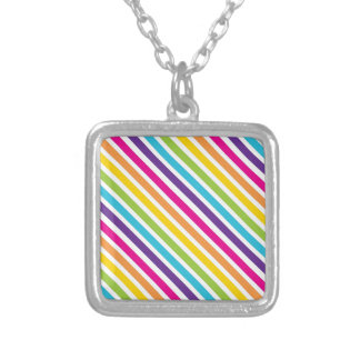 Colorful Rainbow Diagonal Stripes Gifts for Teens Custom Necklace