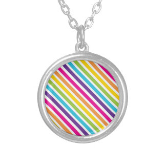 Colorful Rainbow Diagonal Stripes Gifts for Teens Necklaces