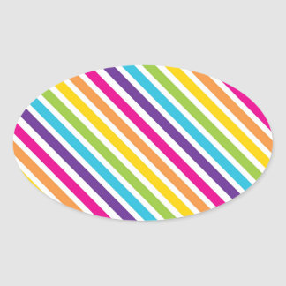 Colorful Rainbow Diagonal Stripes Gifts for Teens Oval Sticker