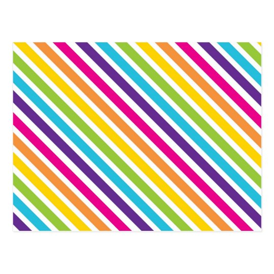 Colorful Rainbow Diagonal Stripes Gifts For Teens Postcard Zazzle Com
