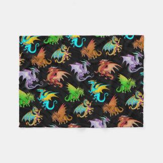 Colorful Rainbow Dragons School Fleece Blanket