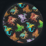 "Colorful Rainbow Dragons School Paper Plate<br><div class=""desc"">Rainbow School supplies,  Back to school dragons. 