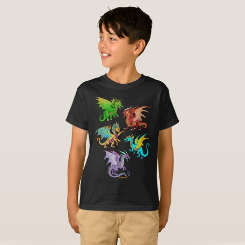Colorful Rainbow Dragons School T_Shirt