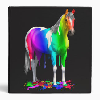 Colorful Rainbow Dripping Wet Paint Horse Binder