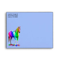 Colorful Rainbow Dripping Wet Paint Horse Envelope