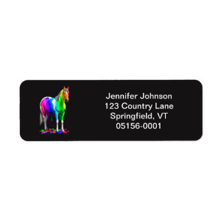 Colorful Rainbow Dripping Wet Paint Horse Label