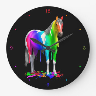 Colorful Rainbow Dripping Wet Paint Horse Large Clock