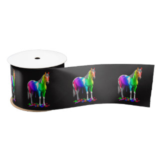 Colorful Rainbow Dripping Wet Paint Horse Satin Ribbon