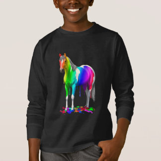 Colorful Rainbow Dripping Wet Paint Horse T-Shirt