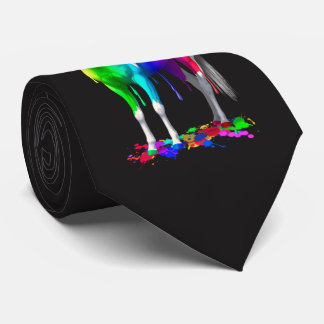 Colorful Rainbow Dripping Wet Paint Horse Tie