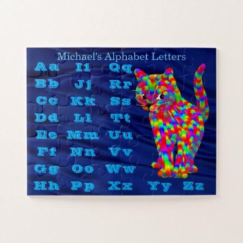 Colorful Rainbow Fantasy Cat Alphabet Learning Jigsaw Puzzle