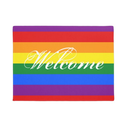 Colorful Rainbow Flag Door Mat With Welcome Text Zazzle