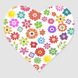 Colorful rainbow flower any occasion heart sticker