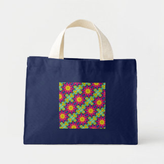 Colorful Rainbow Flower Kaleidoscope Small Navy Mini Tote Bag