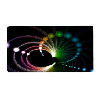 Colorful Rainbow Fractal Art Label